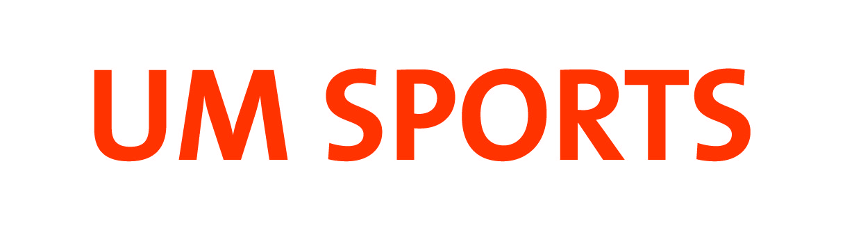 UM SPORTS woordmerk WIT - oranje letters
