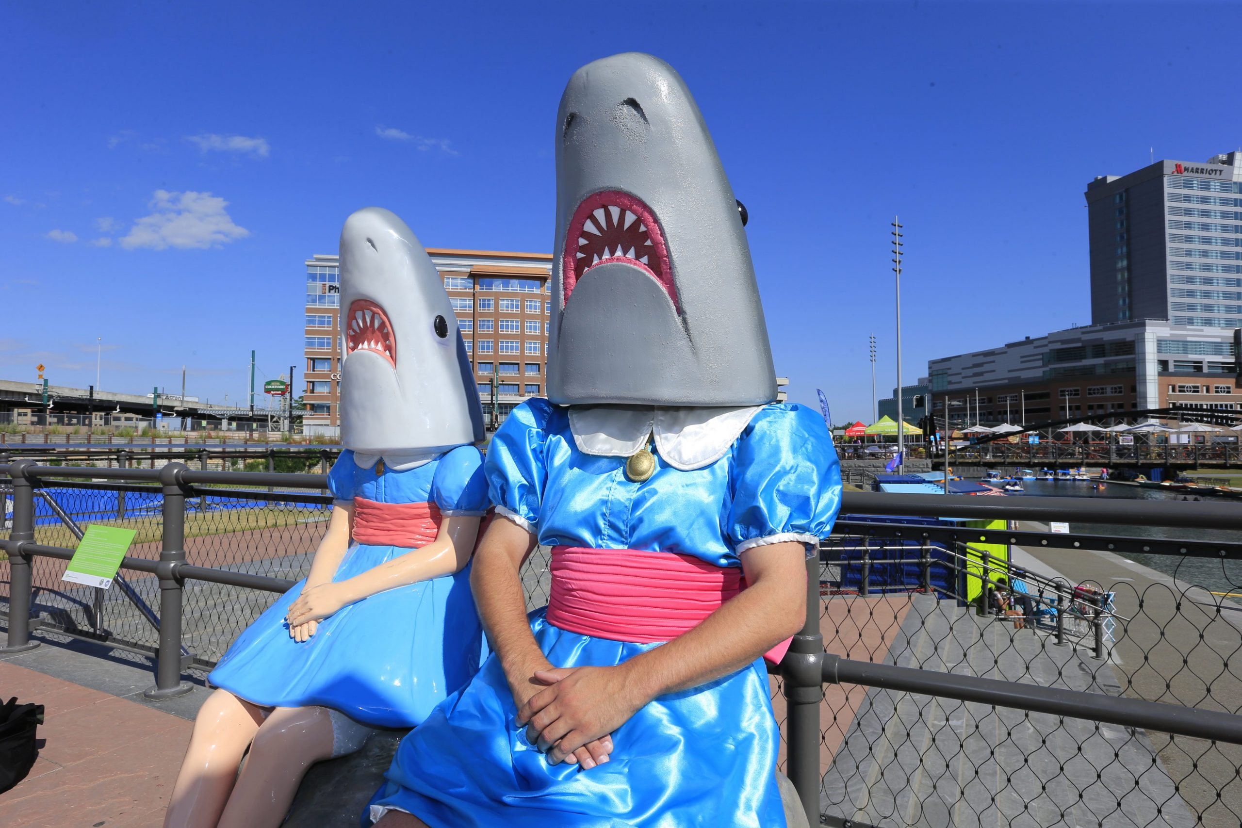 Adam Kreutinger,  dressed as Shark Girl, made his own costume that he'll use during the upcoming school year to teach students in his art class about contemporary sculpture is pictured at Canalside on Thursday, July 30, 2015. (Harry Scull Jr / Buffalo News)